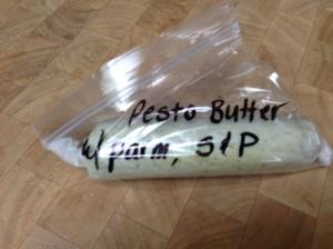Frozen pesto butter