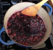 Add sugar and a bag of huckleberries from the freezer.